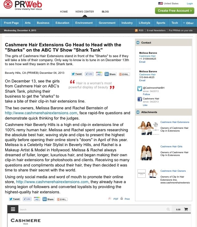 PRESS: Cashmere Hair on ABC's SHARK TANK