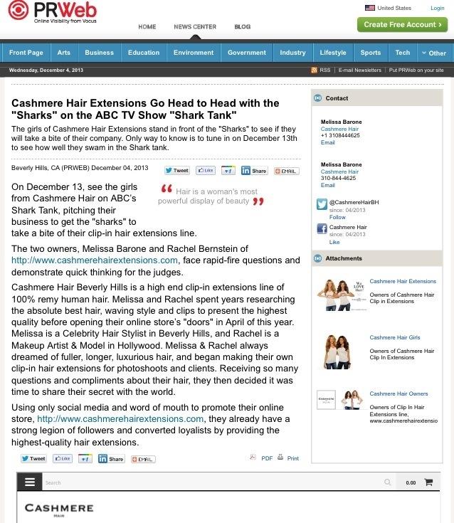 PRESS: Cashmere Hair on ABC's SHARK TANK