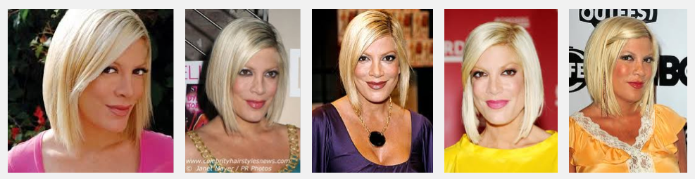 Tori Spelling Wearing Cashmere Hair