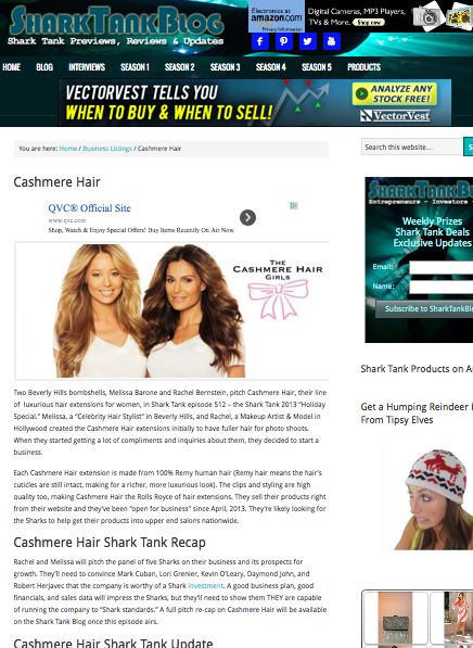 Cashmere Hair on SHARKTANKBLOG.com