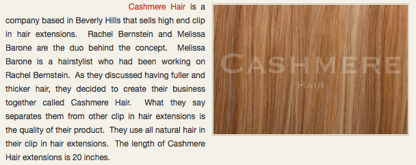 CASHMERE HAIR FEATURED ON JUST ELEMENTARY, INC.
