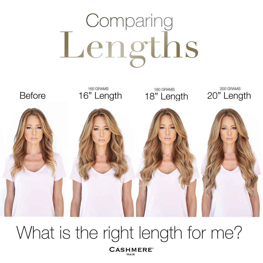 Cashmere hair lengths Comparison photos