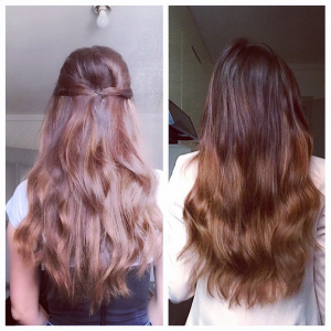 Before and After wearing Cashmere Hair® in Starlet Brunette 16 inch length.