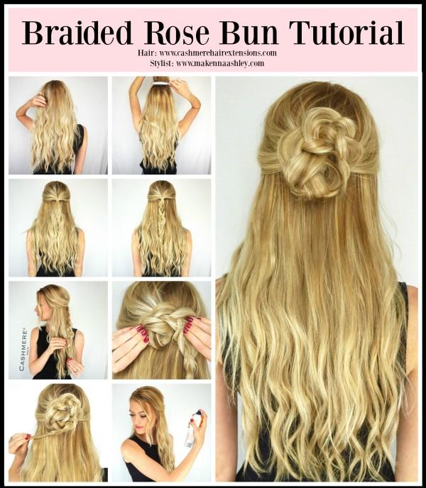 Braided Rose Bun Tutorial Cashmere Hair Extensions Cashmere Hair Clip In Extensions