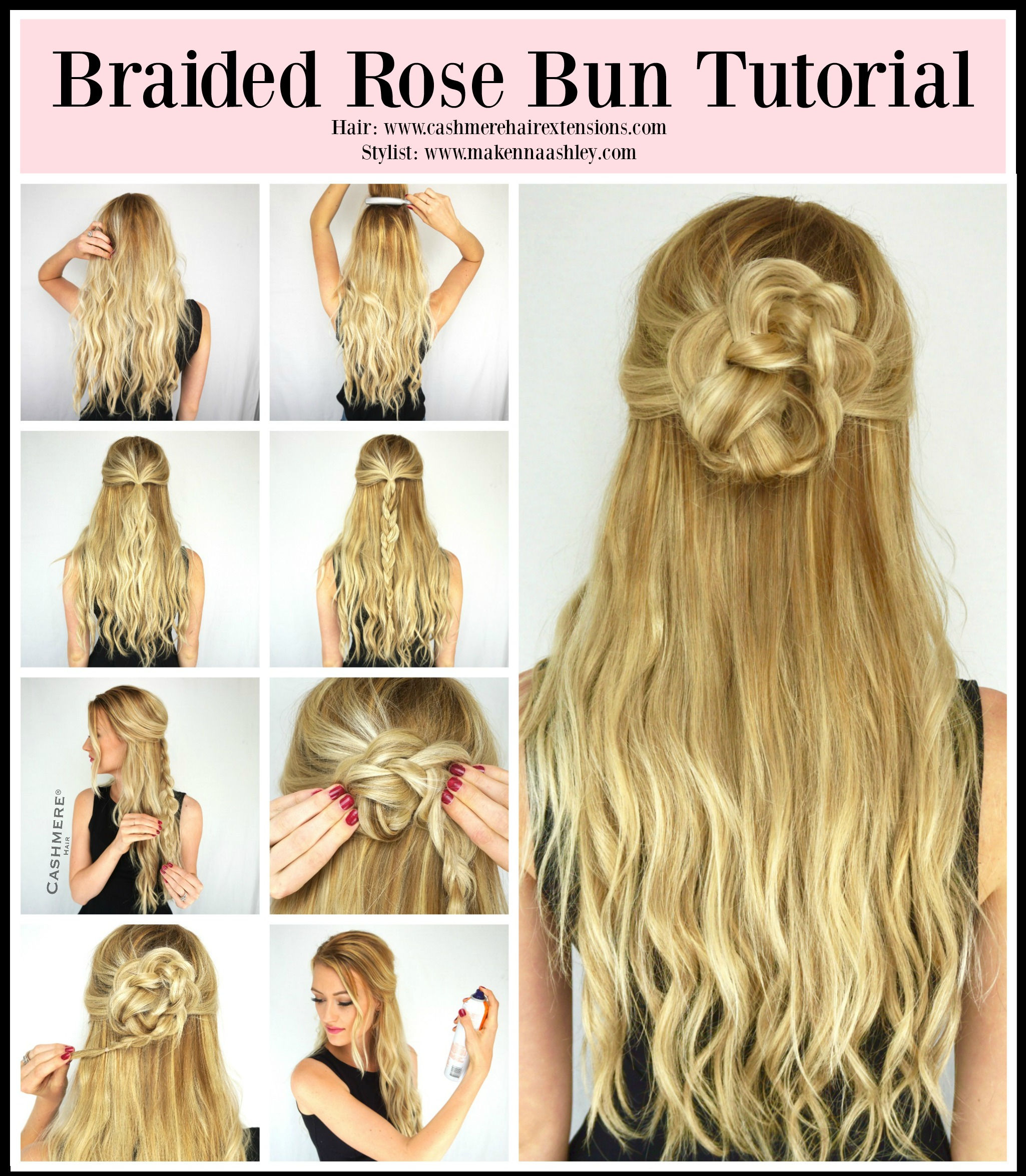 Braided Rose Bun Tutorial Cashmere Hair Clip In Extensions