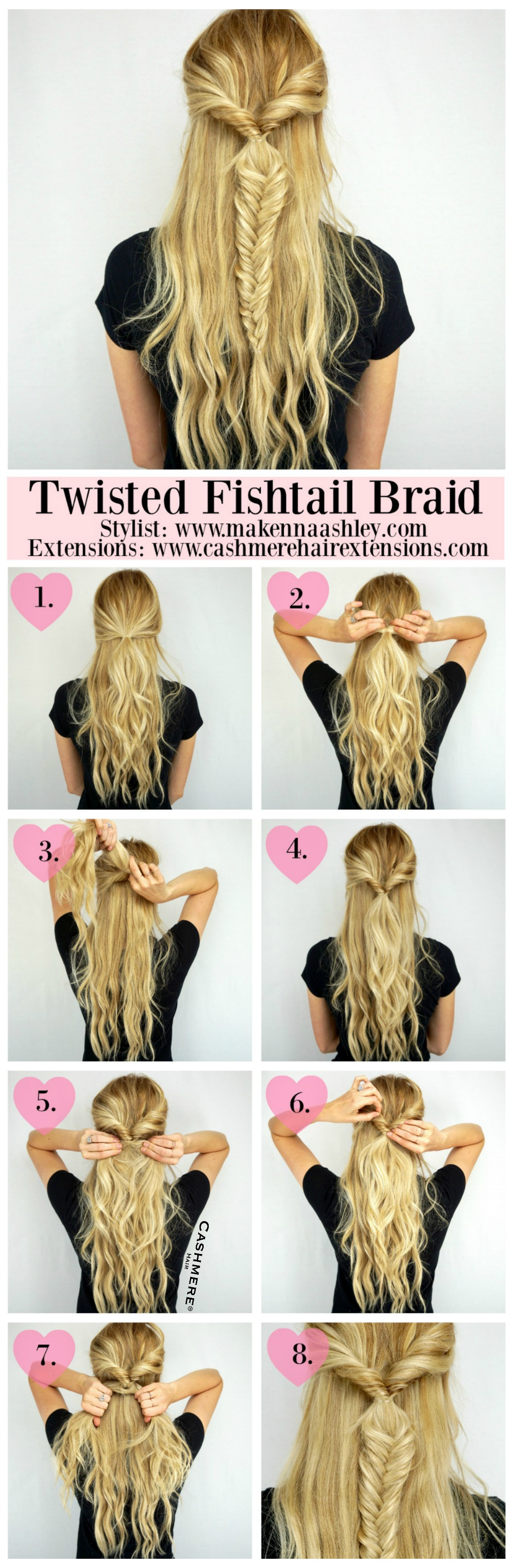 Twisted Fishtail Braid Tutorial | Cashmere Hair Extensions Fishtail Braid How To