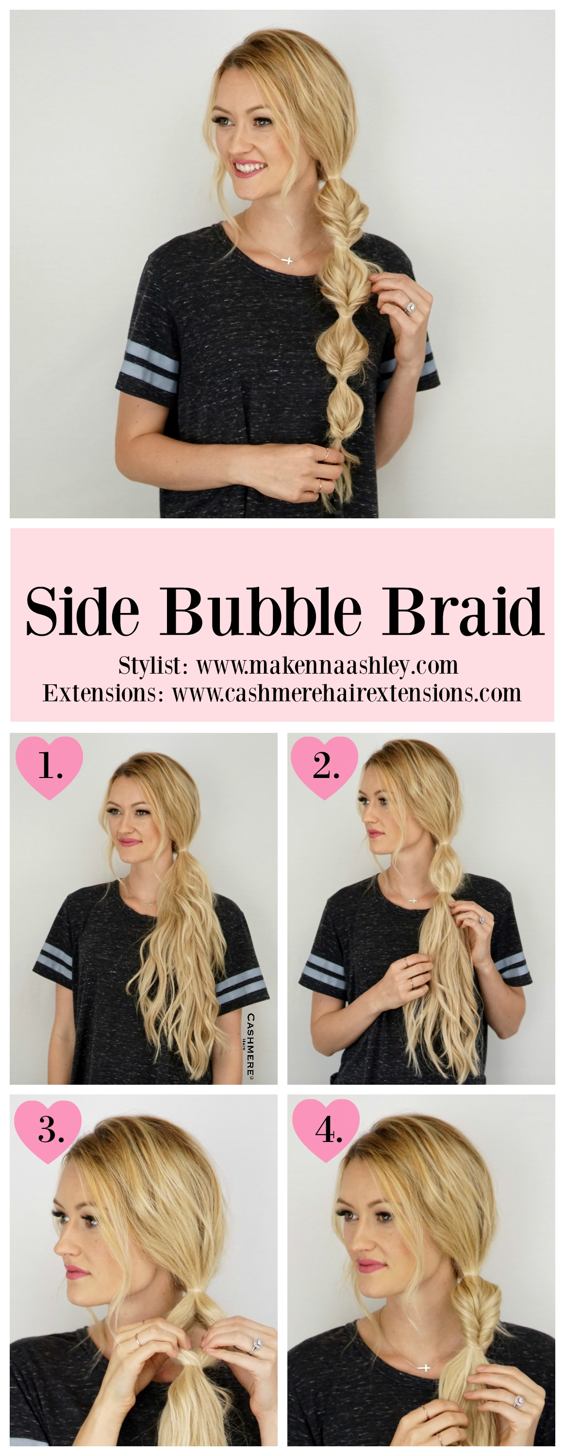 Side Bubble Braid Tutorial Cashmere Hair Clip In Extensions