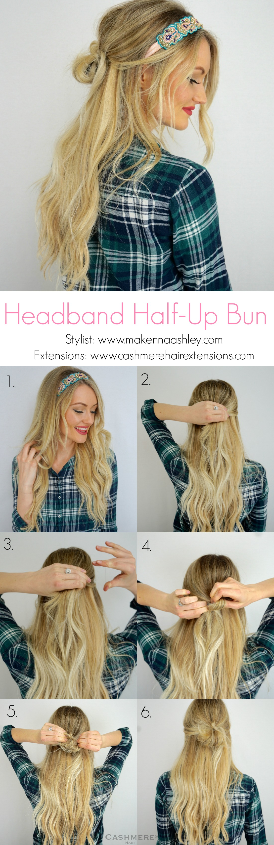 Fast Easy Hairstyle Using A Headband Cashmere Hair Clip