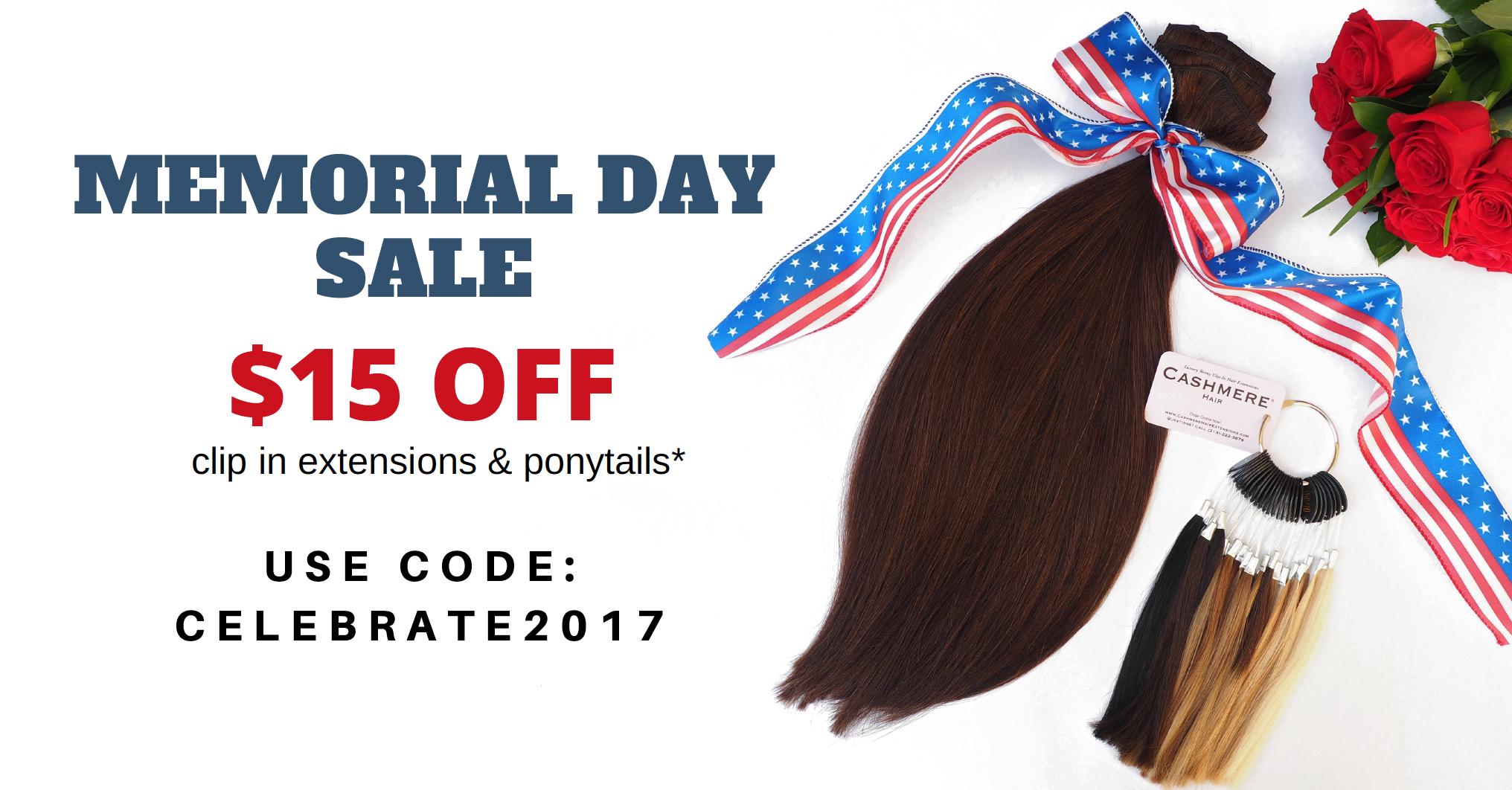 memorial day sale coupon code cashmere hair