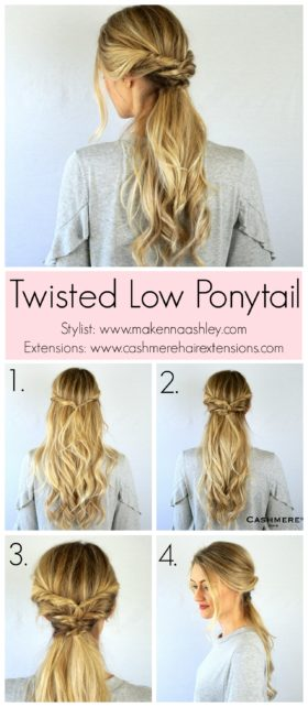 Elegant Twisted Low Ponytail Tutorial