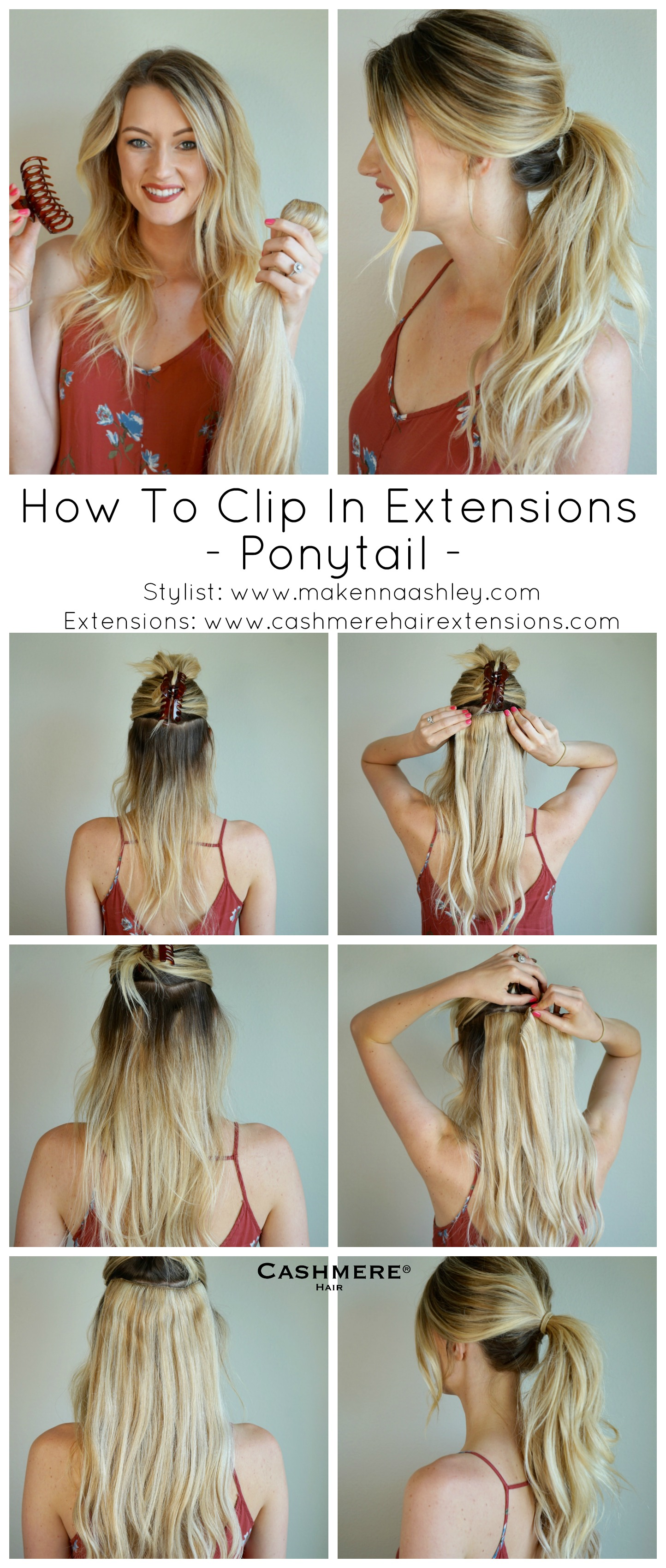 How To Clip In Extensions For A Ponytail Cashmere Hair Clip In